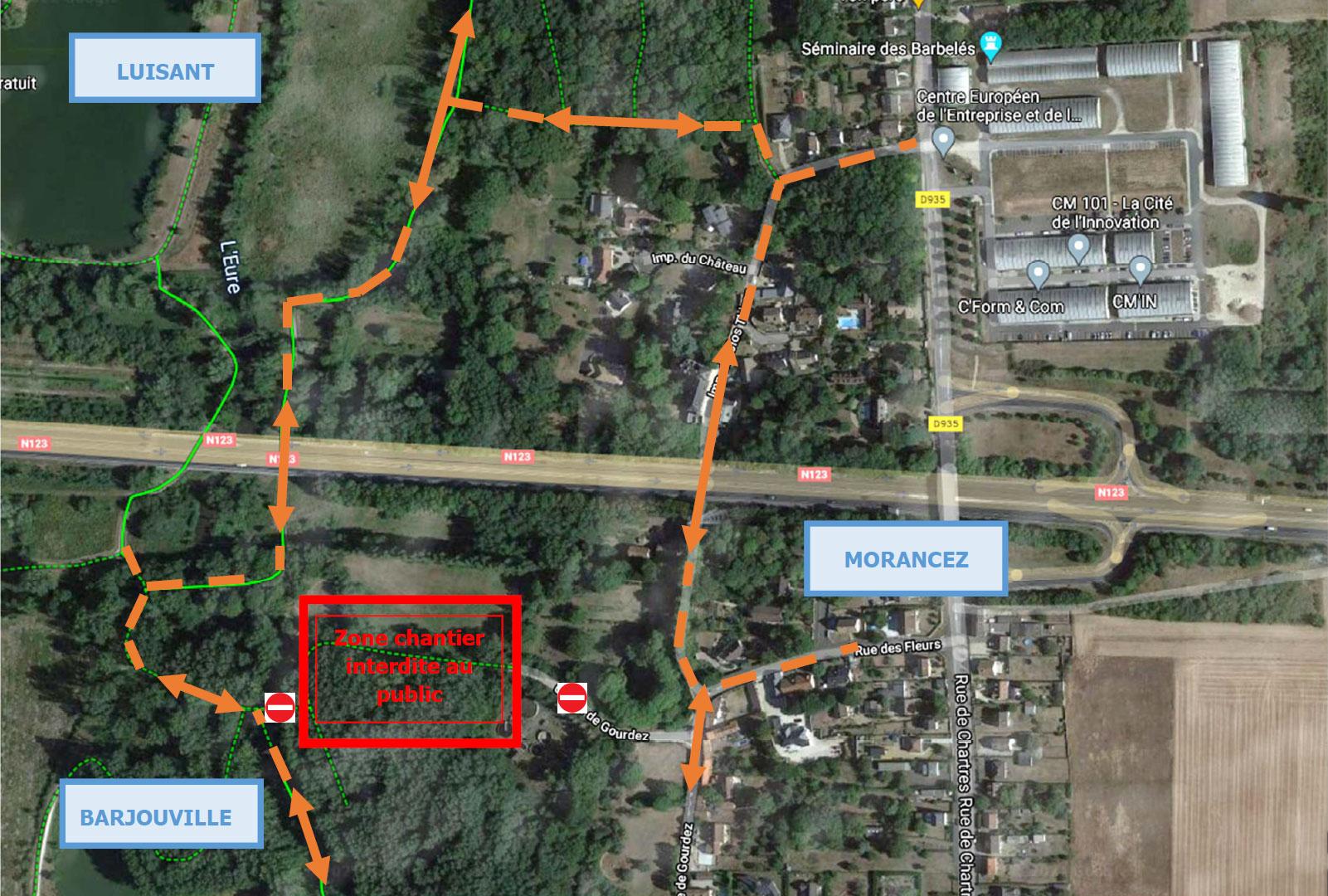 Plan des travaux secteur du Moulin Leblanc, du 30 août au 30 octobre 2021
